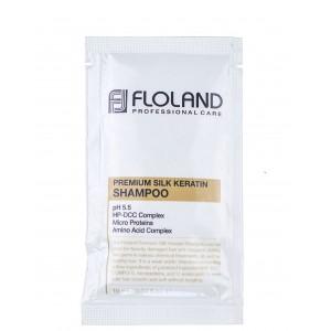 Восстанавливающий шампунь с кератином Floland Premium Silk Keratin Shampoo пробник