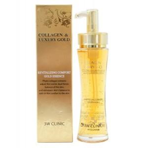 Восстанавливающая эссенция жидкий коллаген с золотом 3W Clinic Collagen & Luxury Gold Revitalizing Essence 150мл