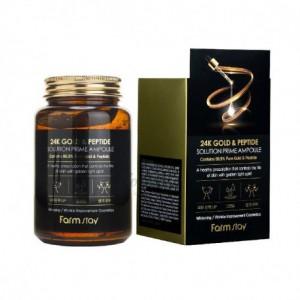 Антивозрастная ампульная сыворотка с 23K золотом и пептидами FARMSTAY 24K Gold & Peptide Solution Prime Ampoule